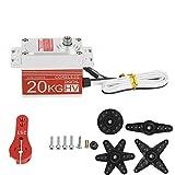 VGEBY1 Servo de dirección de Engranaje de 20 kg, servo de dirección de Engranaje de Metal con Motor Digital sin núcleo de 20 kg para Coche RC(Rojo)