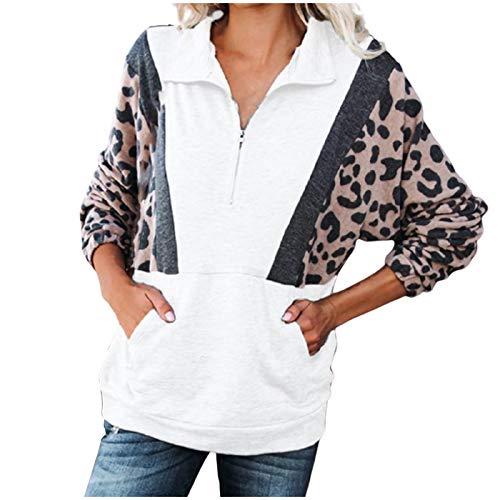 morran Patrón de Leopardo Cosido para Mujer Escote con Cremallera Estampado Mangas Largas Diseño de Bolsillo...