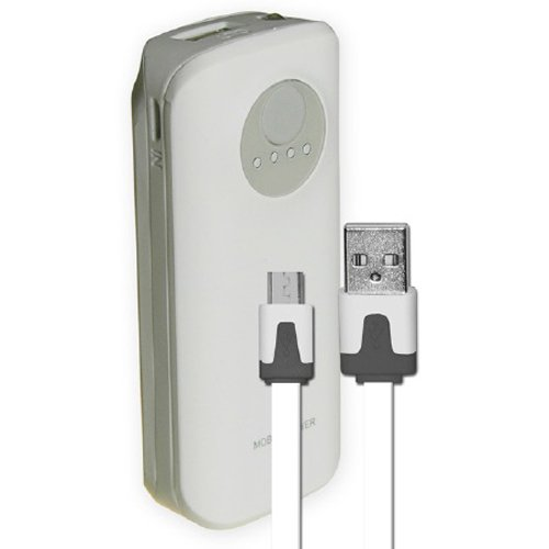 SYN 5200mAh Neon Power Battery Bank with USB Charging Cable in White