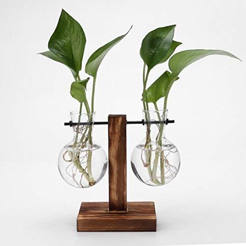 Plant Vazen Vintage bloempot Transparante Vaas Houten Frame glazen blad Planten Bonsai Decor: C