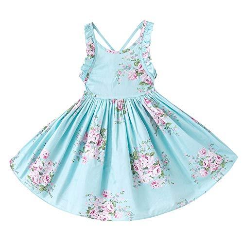 Schattig klein meisje prinses rockkinder mouwloos katoenen bloemenjurk baby prinses feestjurk halster meisje jurk kinderen