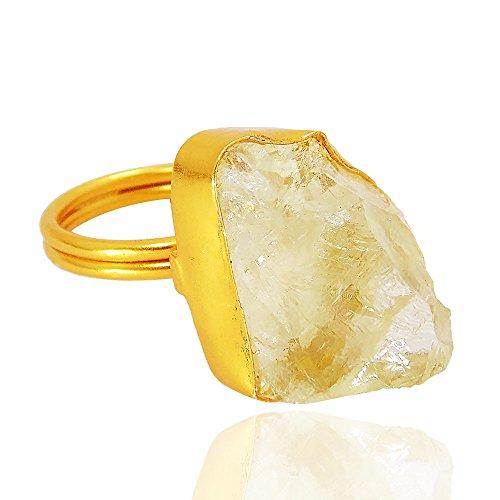 Hecho a mano raw Gemstone citrino Simple desgaste diario anillo de moda para las mujeres