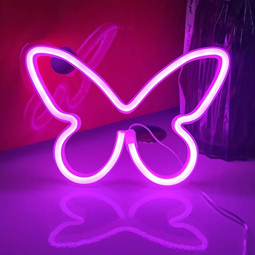 JYWJ Butterfly Neon Signs,USB or 3-AA Battery Powered Neon Light,LED Lights Table Decoration,Girls Bedroom Wall Décor,Kids Birthday Gift,Wedding Party Supplies Business Gifts Neon Signs (Pink)