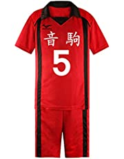 Bilicos Haikyuu Nekoma High School Kozume Kenma Volleybal Club Jersey Bare Midgriff Nr.5 T-Shirt Shorts Set Rood