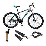 VIPIH Mens Mountain Bike 27.5-Inch Wheels, Aluminum Frame, 21 Speed Thumb Shifter, Front Suspension, Dual Disc Brakes Women Adult Bicycles Blue-Black w/mudguards, Bike Lock, Air Pump