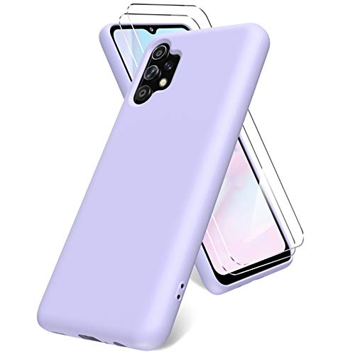 Vansdon Funda Compatible con Samsung Galaxy A32 5G(6,5 Pulgadas), 2 Unidades Protector Pantalla Cristal Templado, Silicona Líquida Gel Ultra Suave Funda- Morado