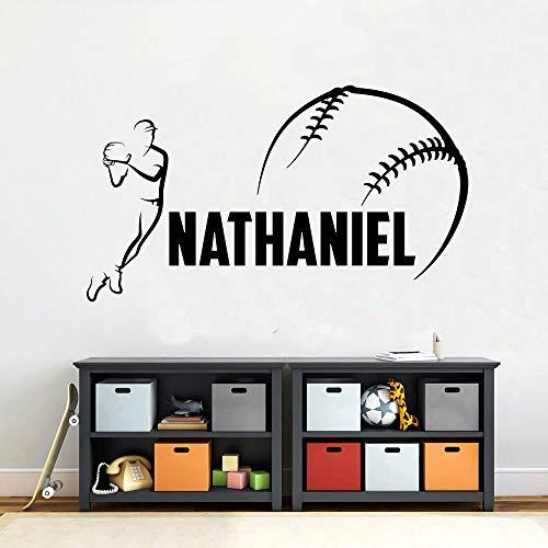 T-YIFUZX Nombre Personalizado Jugador de béisbol Etiqueta de la Pared Deportiva Vinilo decoración del hogar niño Dormitorio Nombre Personalizado Etiqueta de la Pared de béisbol 57x32CM