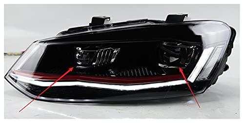 WSCHENG Lámpara de Cabeza para automóvil FIT FOR VW Polo 2010-2018 Faros de Polo Faros de Niebla Día de la luz DRL DRL H7 LED Bi Xenon Bulb Accesorio DE Coches