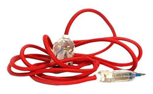 merlotti 35851Verlängerungskabel mit Schlauchleitung H03VV-F 3x 0.75, Rot, 3m