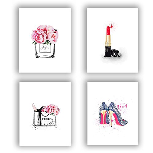 """Fashion Women Art Print Set Of 4 (10""""X8"""" )Art Painting For Women Gifts,Canvas Painting Perfume Handbags Lipstick Shoes Posters And Fashion Prints Wall Pictures For Living Room Home Decor ,No Frame"""