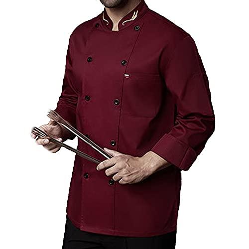 QWA Unisexo Cocinero Abrigo Chaqueta, Hotel/Cocina Manga Larga Doble Botonadura Uniforme para Hombre y Mujer, Respirable Cocina Ropa de Trabajo (Color : Red, Size : D(2XL))