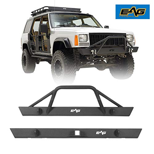 EAG Black Steel Front Bumper and Rear Bumper Combo 2PCS Fit for 1984-2001 Cherokee XJ