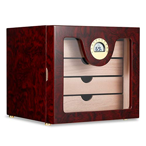Woodronic Handmade Cigar Humidor Cabinet 50 to 100 Counts, Spanish Cedar Lining, 4-Layer Cedar Trays, Large Capacity Cigar Cabinet with Hygrometer and Humidifier, Rosewood Finish