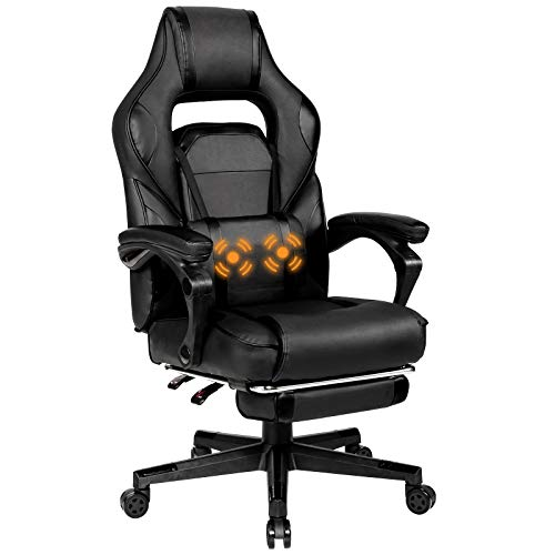 Giantex Ergonomic Gaming Chair, Executive Computer Office Chair with USB Massage Lumbar Cushion and Retractable Footrest, High Back Swivel Chair with Backrest and Height Adjustable (Black)