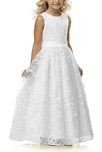 A line Wedding Pageant Lace Flower Girl Dress with Belt 2-12 Year Old (Size 12, White)