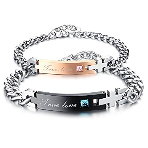 TOPHJ Men Women Stainless Steel Titanium Steel His Beauty & Her Beast Couples Curb Bracelets Matching Set Valentine's Day (7-9mm Width 1 Pair)