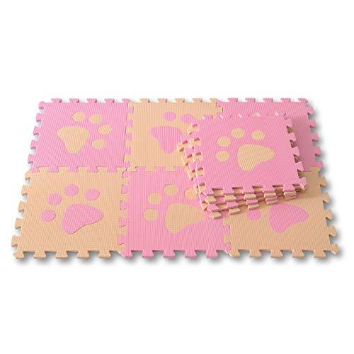 Meitoku Alfombra de Goma EVA para niños con puzle. 10 alfombras de 30 x 30 x 1 cm. Patas de Perro Beige y Rosa.