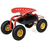 Goplus Garden Cart Rolling Work Seat Outdoor Lawn Yard Patio Wagon Scooter for Planting, Adjustable 360 Degree Swivel Seat w/Tool Tray, Basket (Red)