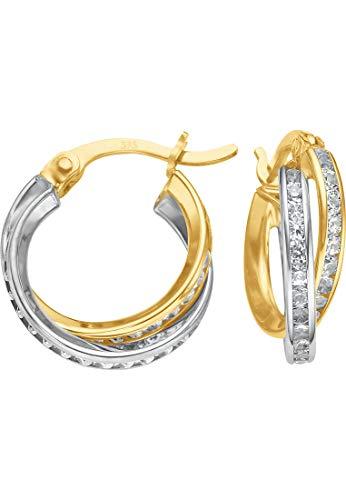 CHRIST Gold Damen-Creole 375er Gelbgold, 375er Weißgold Zirkonia One Size 86107120