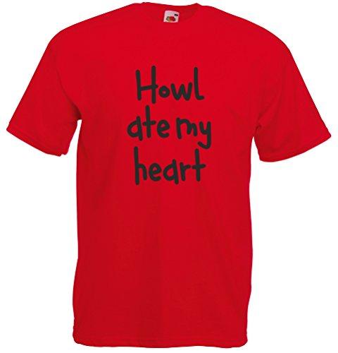 Print Wear Clothing Howl Ate My Heart, Imprimé des Hommes T-Shirt - Rouge/Noir 2XL = 119-124cm