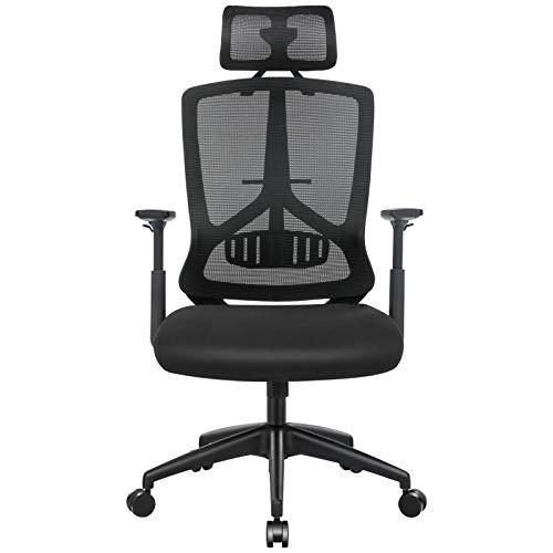 SONGMICS Ergonomic Office Chair, Mesh Desk Chair, Adjustable Headrest and Armrest, Lumbar Support, Tilt Function, Black OBN53BKUK