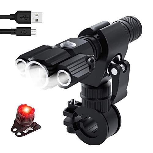 Luz Delantera y Luces traseras súper Brillantes de 1800 lúmenes para Bicicleta, Faros Delanteros Recargables USB con 4 Modos de iluminación y batería incorporada de 2000 mAh