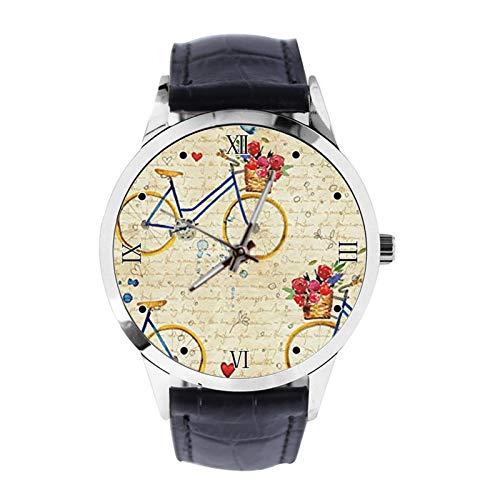 Retro Fahrrad mit inspirierendem Zitat in Zeitung Custom Armbanduhr Unisex Analog Quarz Uhr mit Lederband Uhren für Mädchen Jungen Armbanduhr