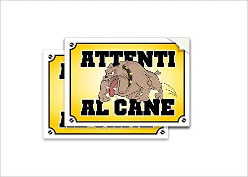Readyprint 2 Adesivi Attenti al Cane, ironico, Divertente, Cartello avviso, 10x15 cm (2 pz.)