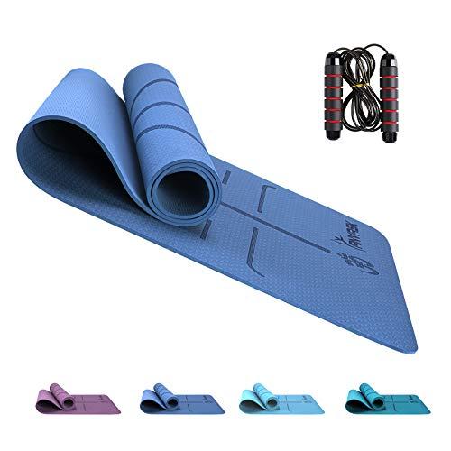 ANVASK Yogamatte rutschfest, Sportmatte Fitnessmatte Gymnastikmatte für Yoga I Pilates, TPE Schadstofffrei Yoga Matte + Springseil, Naturkautschuk Trainingsmatte Joga matten - 183 x 61 x 0,6cm