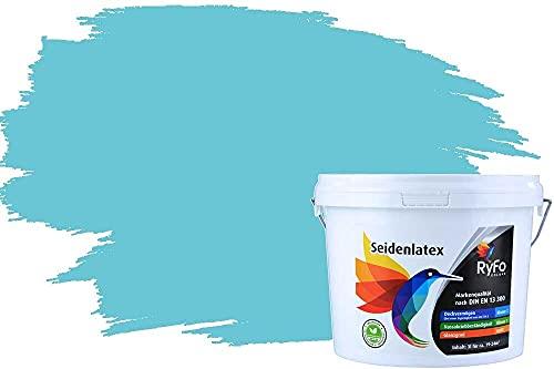 RyFo Colors Seidenlatex Trend Blautöne Karibik 3l - bunte Innenfarbe, weitere Blau Farbtöne und Größen erhältlich, Deckkraft Klasse 1