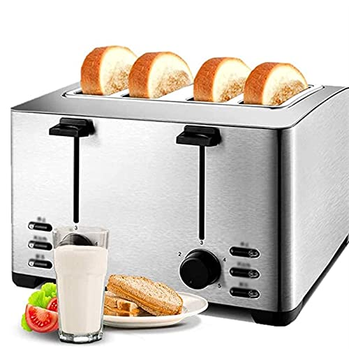 WGHH Toaster 4 Slice, Toaster 2 Long Slot Best Rated Prime with LED Display, Stainless Steel Toasters, Defrost/Reheat/Cancel, Removable Crumb Tray