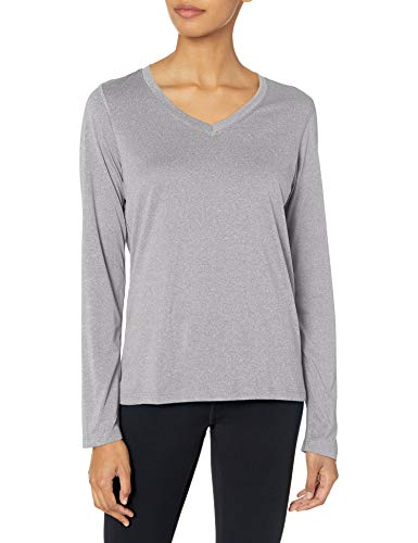 Hanes Women's Sport Cool Dri Performance Long Sleeve V-Neck Tee, Granite Heather, X Large