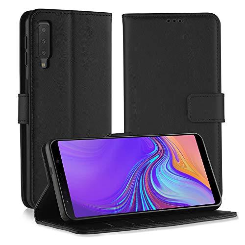 Simpeak Coque Compatible pour Samsung Galaxy A7 2018, Housse en Cuir Premium Flip Case Etui Coque Compatible pour Samsung A7 2018 - Noir