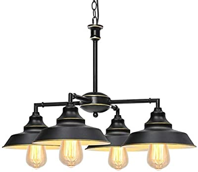 KingSo Industrial Metal Pendant Light,Rustic Pendant Light Fixture,Oil Rubbed Bronze 4-Light Chandelier for Kitchen Island Dining Room Farmhouse Entryway Hallway