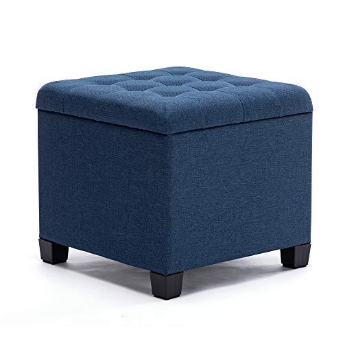 HNNHOME Sitzhocker mit Stauraum, Sitzwürfel mit Deckel, Sitztruhe, Fußbank Truhen Aufbewahrungsbox, Leinen, 44 L, 45 x 41 x 41 cm, Marineblau