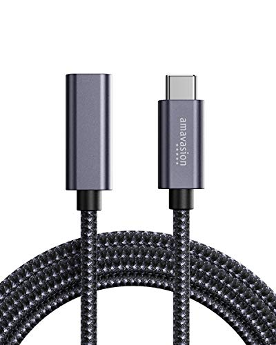 Amavasion USB Typ C Verlängerungskabel 6ft/1.8m für 100W Stromversorgung & Thunderbolt 3 5Gbit/s Datenübertragung Kompatibel mit MacBook Air/Pro, 2020 iPad Pro, Nintendo Switch, USB-C Hub Erweiterung
