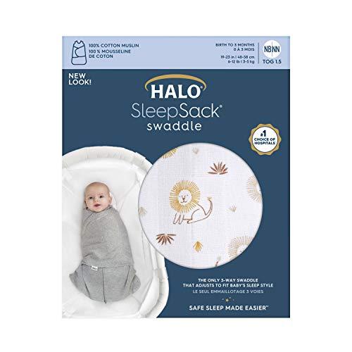HALO Sleepsack Swaddle NB, 100% Cotton, Lions, Newborn