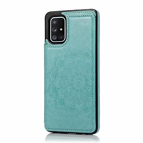Lijc Compatible con Funda Samsung Galaxy A11 Botón Doble Mandala En Relieve PU Cuero Tarjeta Bolsillos [Ranura para Tarjetas] [Soporte Plegable] Antigolpes Flip Caso-Verde
