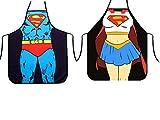 2 juegos de delantales de cocina-versión de Superman para hombres y mujeres, delantales de pareja, delantales de superman, delantales sexy novedad sexy-Superman + juego de rol de Wonder Woman