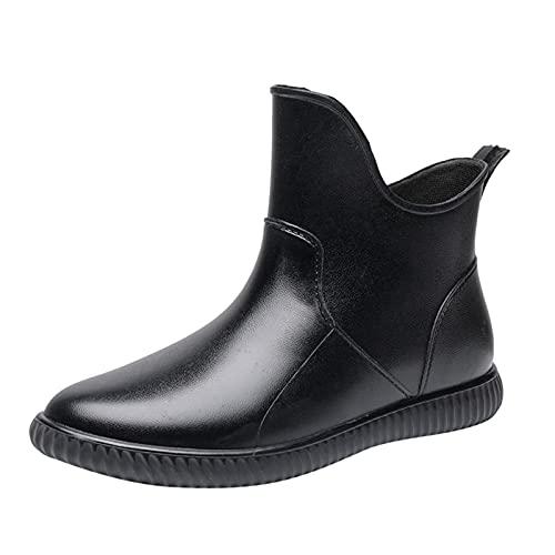 YWLINK Botas De Lluvia Mujer Hunter Zapatos CuñA Botas De Lluvia Hebilla Zapatos De Goma Moda Casual Antideslizante Botas De Nieve Pvc TamañO Grande Botas Cortas Botas De Lluvia