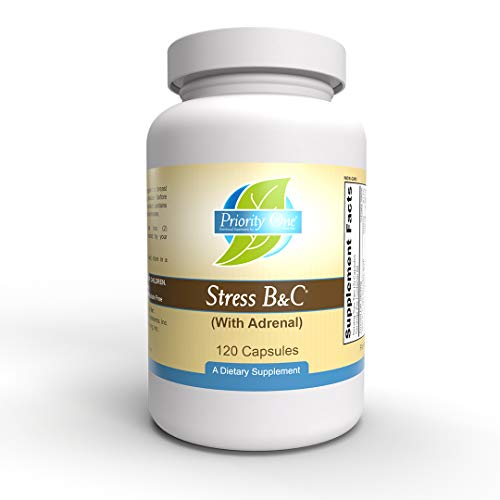 Priority One Vitamins Stress B & C 120 Capsules - B Complex with Whole Gland Adrenal to Support Healthy Nerves, Skin, Eyes, gastrointestinal, and Brain Functions.*