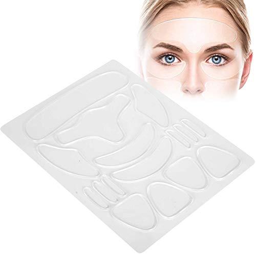 16 parches antiarrugas reutilizables, almohadillas de silicona antiarrugas tiras para eliminar arrugas parches antienvejecimiento para el cuidado de la piel para la frente ojos cara cuello
