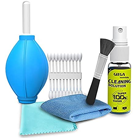 Gizga Essentials Professional 6-in-1 Cleaning Kit for Cameras & Sensitive Electronics (Includes: Air Blower, Cotton Swabs, Suede + Plush Micro-Fiber Cloth, Cleaning Brush, Cleaning Solution)
