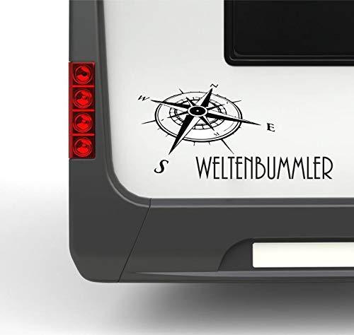 Pegatina Promotion Wohnmobil Wohnwagen Aufkleber Kompass mit Schriftzug Weltenbummler Typ2 ca 40cm Kompassrose Sticker Autoaufkleber