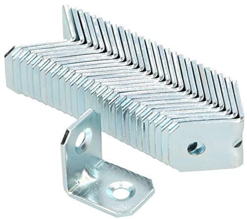 KOTARBAU Winkelverbinder 20 x 20 x 16 mm Sicke Stahl Bauwinkel Montagelöcher Möbelwinkel Verzinkt Schwerlast Holzverbinder Montagewinkel Stuhlwinkel (50)