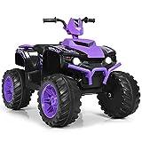 HONEY JOY 12V Ride On ATV, 4-Wheeler Battery Powered Toddler Quad, 2 Speeds, LED Headlights, Slow Start, Horn, Bluetooth, Radio, Music, Treaded Tires, Electric Ride On Toy for Kids (Purple)