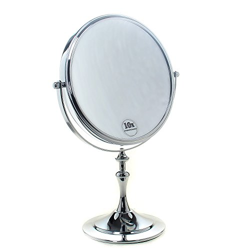 TUKA Standspiegel 10 fach Vergrößerung, 8 inch Kosmetikspiegel 360° drehbar. Verchromten Schminkspiegel Rasierspiegel Tischspiegel Badzimmerspiegel, Doppelseitig: Normal+ 10x Vergrößerung, TKD3105-10x