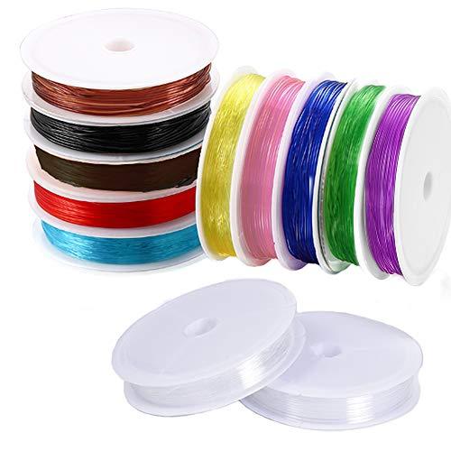 Sweieoni Hilo Elastico para Pulseras 12 Rollos Color Hilo Elastico Joyeria fabricacion Hilo Elástico para Manualidades Pulseras Collares Decoracion Bricolaje 0.8mm,11 colores