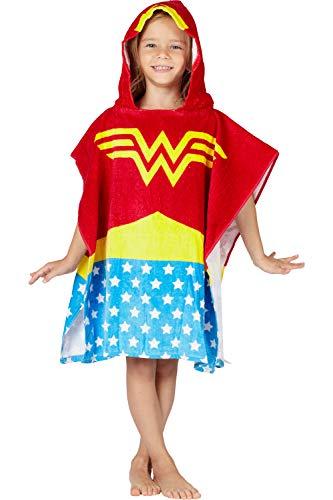 DC Comics 'Wonder Woman' Logo Superhero Hooded Bath Beach Swim Poncho Towel, Red, 4-7