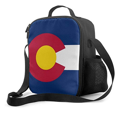 Leak-Proof Lunch Bag Tote Bag, Colorado State Flag American Mojo Adjustable Shoulder Strap Insulated Cooler & Thermal Lunch Container